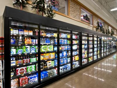 low temp merchandisers maximum facings merchandising energy efficiency and case footprint - Beer Merchandiser